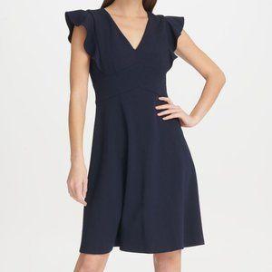 DKNY Ruffle Flare Dress  Navy Blue  Size 10  NWT